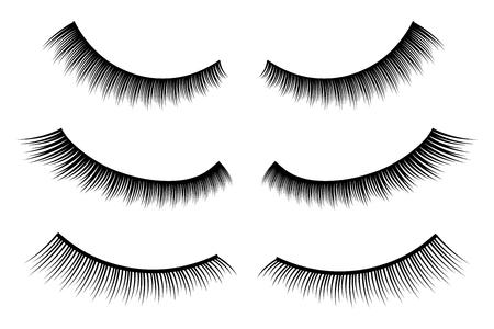 Creative illustration of false eyelashes, female lashes, mascara lash brush isolated on background. Art design thick cilia beautiful make-up. Abstract concept graphic element.