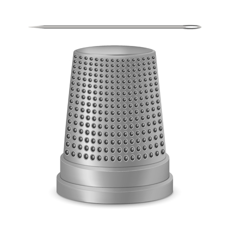 Creative illustration of needle, thimble isolated on white background. Art design sewing tailor tools and accessories. Abstract concept graphic silver metal vintage element. Stock Photo