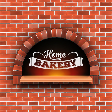 Creative illustration of stone brick, pizza firewood oven with fire isolated on background. Art design home bakery. Abstract concept graphic pizzeria restaurant, bread shop element. Banque d'images