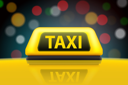 Creative illustration of yellow taxi service car roof sign on the street at night blurred lighting background. Art design template. Abstract concept graphic bokeh element.