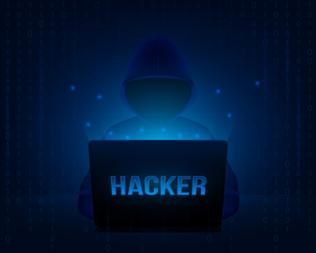 Creative illustration of computer hacker with hoodie and dark obscured face, pc laptop on background. Art design ybersecurity, internet security template. Abstract concept graphic element.