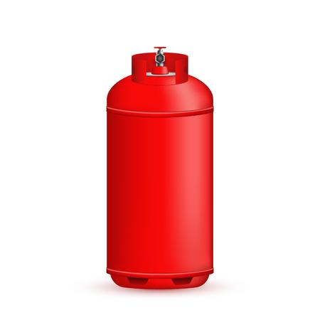 Ilustración creativa de cilindro de gas, tanque, globo, contenedor de propano, butano, acetileno, dióxido de carbono aislado en el fondo. Plantilla de diseño de arte. Elemento de concepto abstracto.