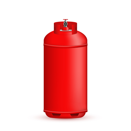 Creative illustration of gas cylinder, tank, balloon, container of propane, butane, acetylene, carbon dioxide isolated on background. Art design template. Abstract concept element.