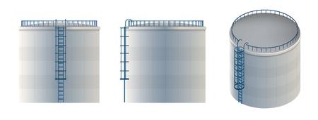 Ilustración creativa del tanque de agua, depósito de almacenamiento de petróleo crudo aislado en el fondo. Diseño de arte gasolina, bencina, plantilla de cilindro de combustible. Elemento gráfico del concepto abstracto. Foto de archivo