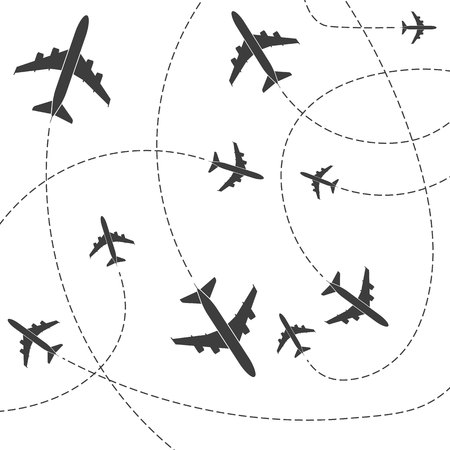 Creative illustration of plane with dashed path lines isolated on background. Art design airplane sky route. Abstract concept graphic element for air transportation presentation. Фото со стока