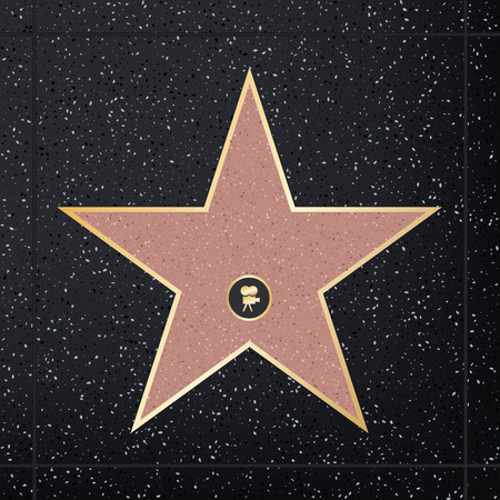 Creative illustration of sidewalk famous actor star. Hollywood walk of fame art design. Abstract concept graphic element of blank template on granite square in boulevard. Stock Photo