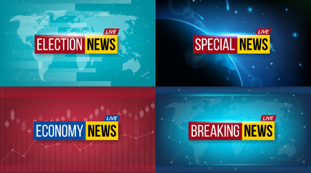 Creative illustration of breaking news background. World, sports, weather, financial, political, culture, science, morning, night, daily, evening, economy, music, election, special tv show. Imagens