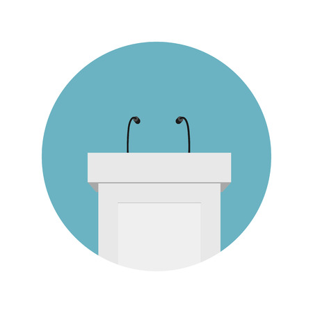 Creative illustration of podium tribune with microphones isolated on background. Art design rostrum stands. Abstract concept graphic element for business presentation, conference.