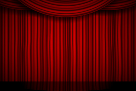 Creative illustration of stage with luxury scarlet red silk velvet drapes and fabric curtains isolated on background. Art design. Concept element for music party, theater, circus, opera, show.