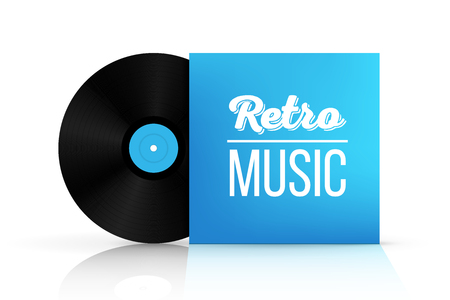 Creative illustration of realistic vinyl record disk in paper case box isolated on background. Front view. Art design blank LP music cover mockup template. Concept graphic disco party element.
