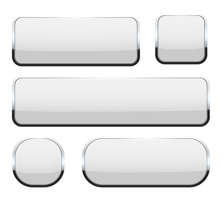 Creative illustration of white 3d glass buttons with chrome frame with shadow falling isolated on background. Art design. Abstract concept graphic rectangle, oval web icons element.