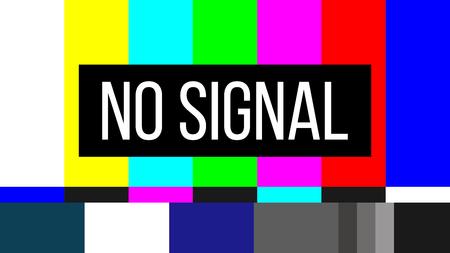 Illustration créative de l'arrière-plan du modèle de test TV sans signal. Erreur d'écran de télévision. Problèmes techniques des barres de couleur SMPTE. Conception d'art. Élément graphique de concept abstrait. Banque d'images