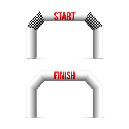 Creative illustration of finish line inflatable arch isolated on background. Art design archway suitable for different outdoor sport event. Concept graphic triathlon, marathon, racing, element.