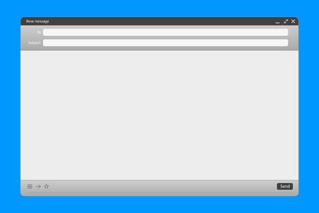 Ilustración creativa de la interfaz de mensajes de correo electrónico con formulario de envío aislado en segundo plano. Diseño de arte Plantilla de maqueta en blanco de correo electrónico. Panel web de interfaz de página de correo de concepto abstracto
