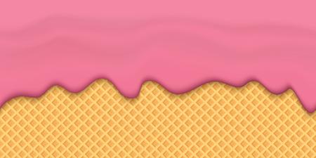 Creative illustration of yogurt creamy liquid drips, cream melt milk splash flowing seamless wide background with . Art design sweet dessert flow layers. Abstract concept element. Фото со стока