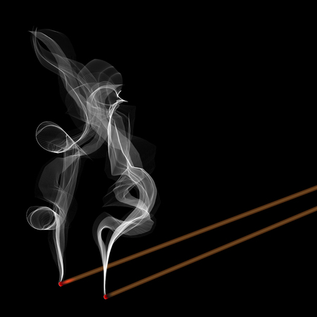 Creative illustration of realistic incense stick aroma with smoke isolated on background. Art design incense burning. Abstract concept Chinese New Year graphic element. Фото со стока
