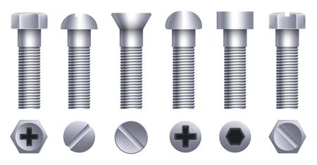 Kreative Illustration von Stahlmessingbolzen, Metallschrauben, Eisennägeln, Nieten, Unterlegscheiben, Muttern-Hardware-Seitenansicht einzeln auf Hintergrund. Kunstdesign abstraktes Konzept grafisches Element. Standard-Bild