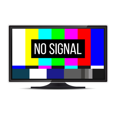 Creative illustration of no signal TV test pattern background. Television screen error. SMPTE color bars technical problems. Art design. Abstract concept graphic element.