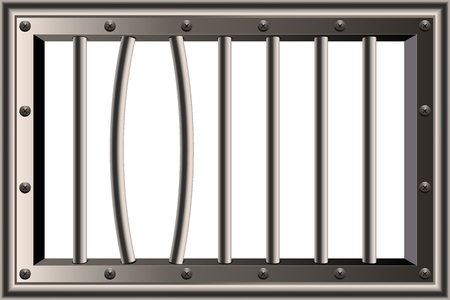 Creative illustration of metal realistic detailed prison bars window isolated on background. Art design jail break way out to freedom. Abstract concept graphic element. Standard-Bild - 121106954