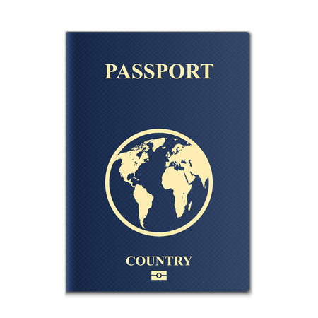 Creative illustration of passports with globe map isolated on background. Art design. Front cover international identification document. Abstract concept graphic element. Stock Photo