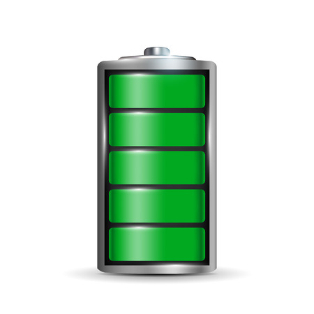 Creative illustration of 3d different charging status battery load isolated on background. Discharged power sources. Art design. Abstract concept graphic element for displays, icons