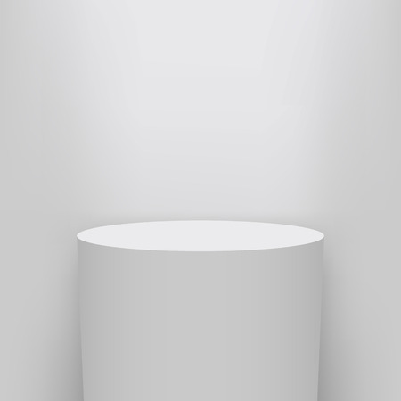 Illustrazione creativa del piedistallo del museo, palcoscenico, podio 3d set isolato su priorità bassa. Mockup di modello vuoto di design artistico. Elemento grafico concetto astratto per la presentazione del prodotto.