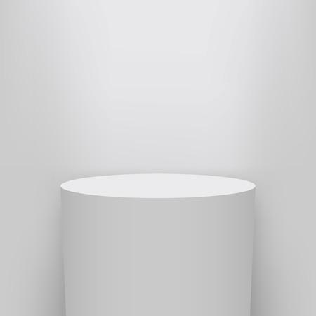 Ilustración creativa del pedestal del museo, escenario, podio 3d aislado en el fondo. Maqueta de plantilla en blanco de diseño de arte. Elemento gráfico del concepto abstracto para la presentación del producto.