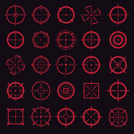 Creative illustration of crosshairs icon set isolated on background. Art design. Target aim and aiming to bullseye signs symbol. Abstract concept graphic games shooters element. Standard-Bild - 121107209