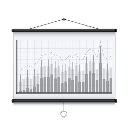Creative illustration of empty meeting projector screen isolated on background. For presentation board, blank whiteboard template mockup for conference. Art design. Graphic element.