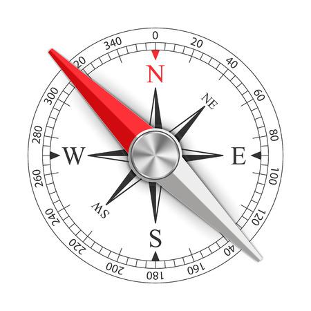 Ilustración creativa de la brújula magnética de la rosa de los vientos aislada en el fondo. Diseño de arte para viajes globales, turismo, exploración. Elemento gráfico conceptual para navegación, orientación.