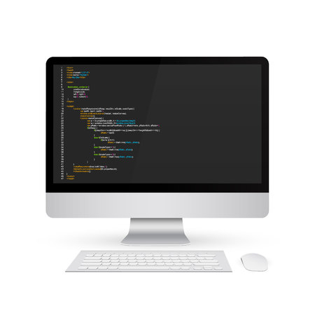 Creative illustration of programming HTML code on computer screen isolated on background. Art design website digital page. Program listing view. Abstract concept graphic technology element.