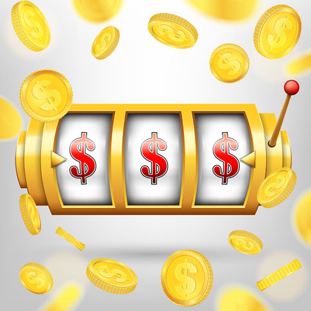 Creative illustration of 3d gambling reel, casino slot machine isolated on background. Art design. Concept abstract graphic element - one arm bandit, lucky symbol, big win, 777. Фото со стока