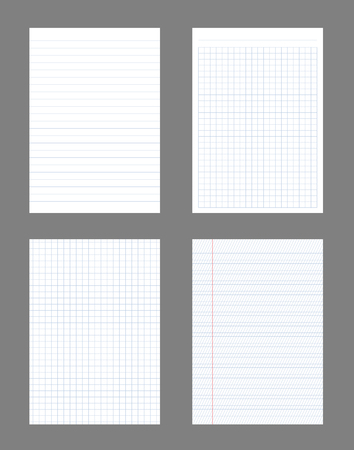 Creative illustration of realistic square, lined paper blank sheets set isolated on background. Art design lines, grid page notebook with margin. Abstract concept graphic element.
