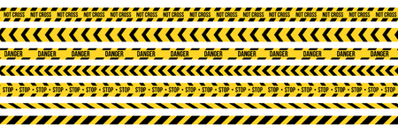 Creative illustration of black and yellow police stripe border. Set of danger caution seamless tapes. Art design line of crime places. Abstract concept graphic element. Construction sign