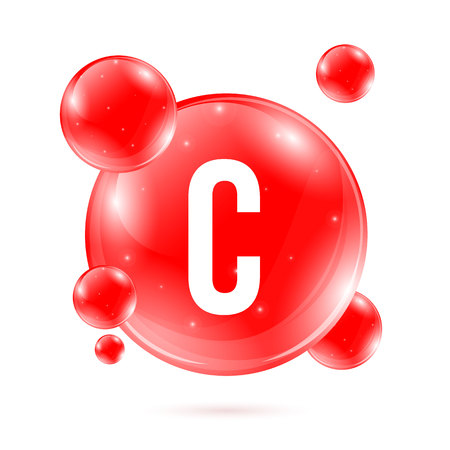 Creative illustration of vitamin C. Ascorbic acid drop pill capsule. Nutrition care. Art design. Abstract concept graphic beauty treatment nutrition skin care element