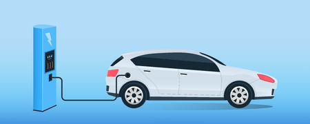Creative illustration of electric charging future car, charger station isolated on background. Art design electromobility e-motion template. Abstract concept graphic element.