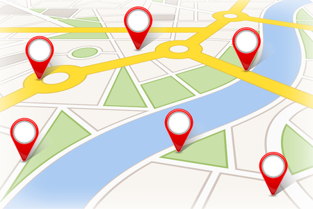 Creative illustration of map city. Street road infographic navigation with GPS pin markers and pointers. Art design. City route and infrastructure. Abstract concept graphic element
