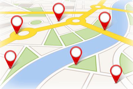 Kreative Illustration der Kartenstadt. Straßen-Infografik-Navigation mit GPS-Pin-Markierungen und -Zeigern Kunstdesign. Stadtroute und Infrastruktur. Grafikelement des abstrakten Konzepts