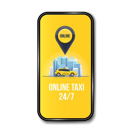 Creative illustration of taxi online service banner, urban city skyscrapers isolated on background. Art design mobile app template. Abstract concept graphic element. Stok Fotoğraf