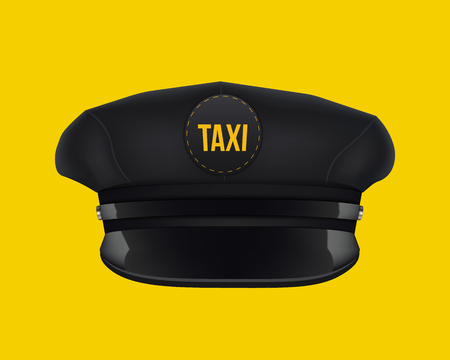 Creative illustration of retro classic taxi driver cap with visor isolated on background. Art design template. Abstract concept graphic element. Foto de archivo