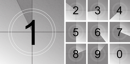 Creative illustration of countdown frame. Art design. Old film movie timer count. Vintage retro cinema. Abstract concept graphic element. Universal leader. Number one - 1. Banque d'images