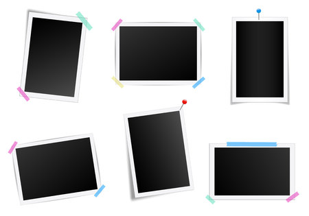 Creative illustration set of square photo frame with shadows isolated on background. Retro art design. Realistic mockups. Color adhesive tapes, push pins. Abstract concept graphic element. Imagens