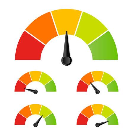Illustration créative de l'évaluation du compteur de satisfaction client. Conception d'art d'émotions différentes du rouge au vert. Élément graphique de concept abstrait de tachymètre, compteur de vitesse, indicateurs, score.