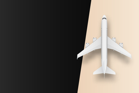 Creative illustration of plane isolated on colorful background. Top view airplane. Travel art design of summer vacation. Copy space for you presentation. Abstract concept graphic element. Stock Photo