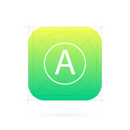 Creative illustration set of app icon template with guidelines, grids isolated on background. Art design interfaces and applications. Abstract concept graphic element for web and mobile button.
