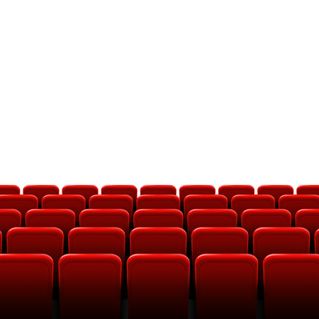 Creative illustration of movie cinema screen frame and theater interior. Art design premiere poster background, lights and rows red seats. Abstract concept graphic scene element.