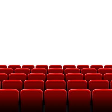 Ilustración creativa del marco de la pantalla de cine y el interior del teatro. Fondo de cartel de estreno de diseño de arte, luces y filas de asientos rojos. Elemento de escena gráfica de concepto abstracto.