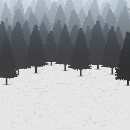 Creative illustration of wild coniferous pine tree forest background. Art design landscape nature wood panorama. Abstract concept graphic outdoor camping element.