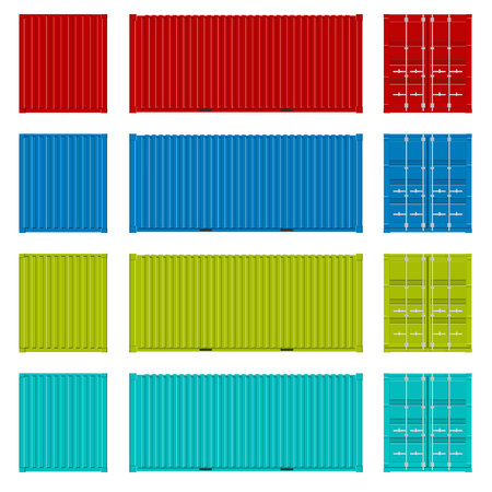 Creative illustration of sea freigh cargo containers views from different sides collection isolated on background. Art design realistic set. Shipping, transportation element for logistics.