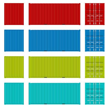 Kreatywna ilustracja widoków kontenerów ładunków morskich z kolekcji różnych stron na białym tle. Realistyczny zestaw do projektowania sztuki. Wysyłka, element transportowy dla logistyki.